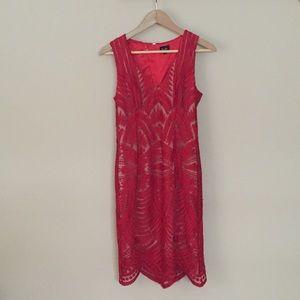 NWOT Bardot Red Mesh Lace Dress Size 6